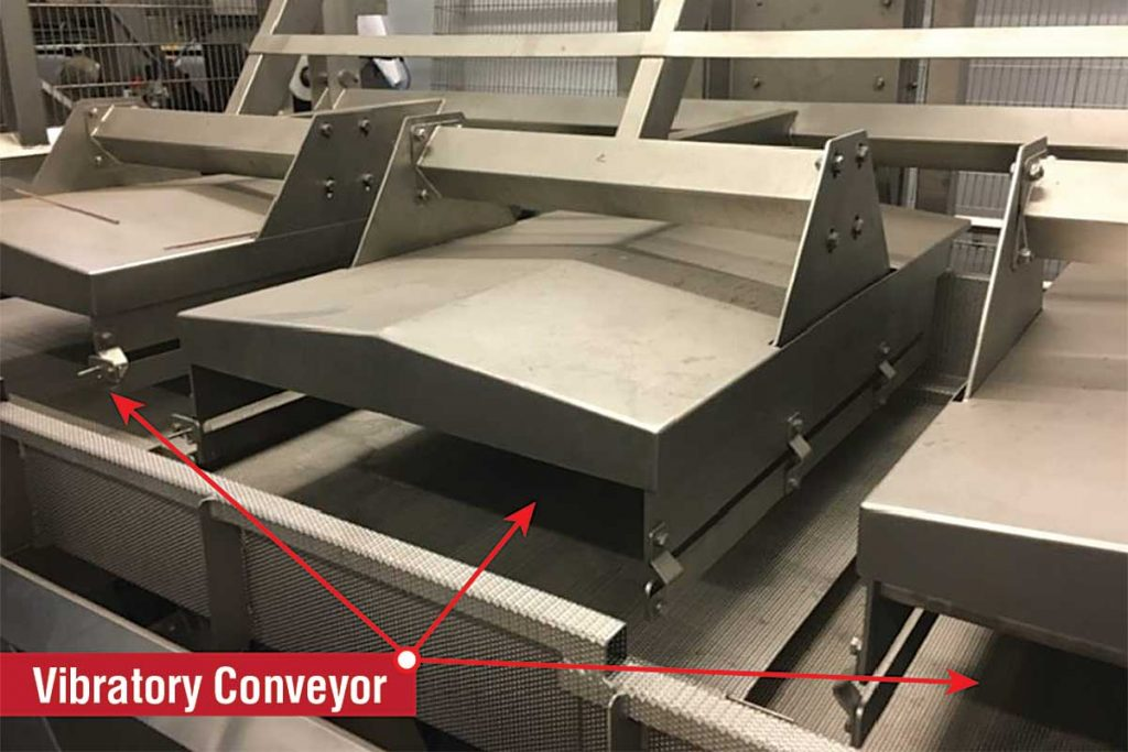 uv-c decontamination system on vibratory conveyor 1